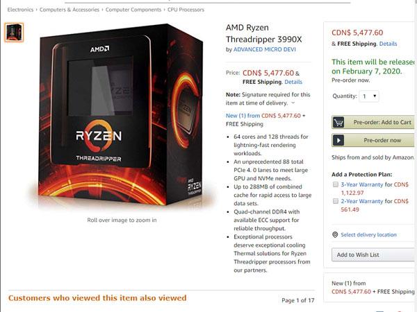 AMD, 라이젠 스레드리퍼 3990X 아마존 사전 주문 오픈